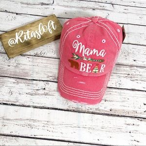 """MAMA BEAR"" Embroidered, Vintage Style Ball Cap"